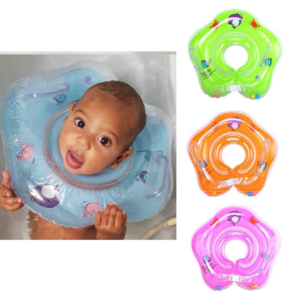 Baby Swimming Circle Inflatable Ring Kids Pools Accessories Baby Swimming Ring Inflatable Circle Wheels for Newborns Neck Float(China)
