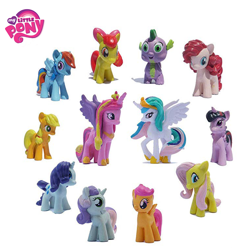 hasbro my little pony toys friendship is magic pop pinkie pie rainbow series pony pvc action figures colletion model dolls a2004 12pcs/Set Hasbro My Little Pony Toys Friendship Is Magic Mini Pony PVC Action Figures Set Collectible Model Doll Dolls For Kids