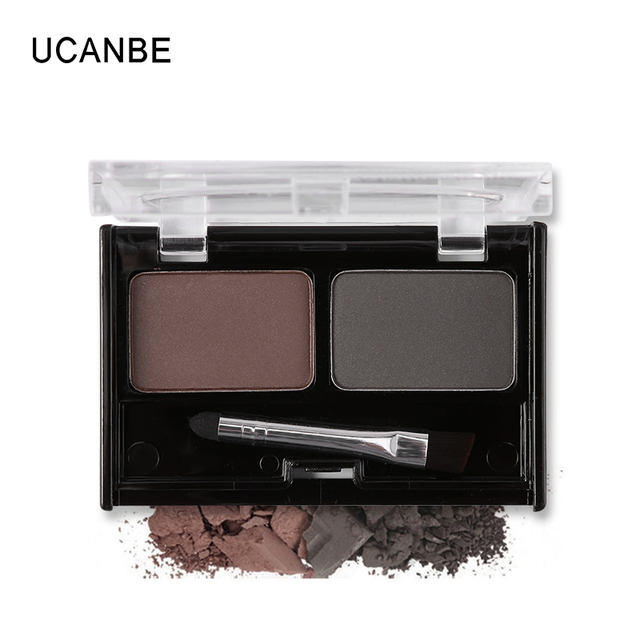 Brand Double Color Eyebrow Powder Makeup Palette Natural Brown Eye Brow Enhancers 3D Eye Brows Shadow Cake Beauty Kit with Brush 3