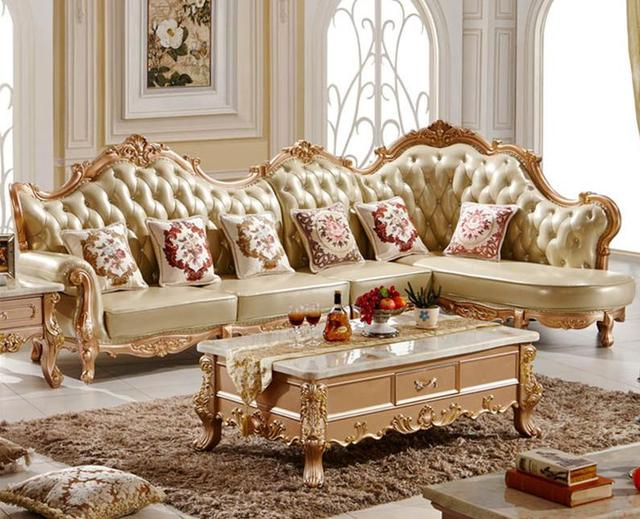 Superb Solid Wood L Shape Full Leather Sofa Set For Gold Colour