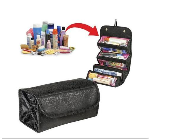 Roll Multifunctional Cosmetic Bag Women Waterproof Makeup Cases Travel Toiletry Pouch