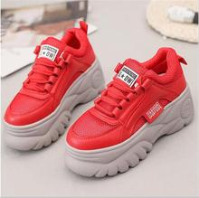 Daddy Shoes Red Women Sneakers Women Shoes Summer 6CM Thick Bottom Platform Sneakers Lace Up Womens Shoes Woman Zapatos De Mujer