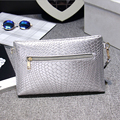 2016 new spring and summer small silvery Clutch brief bag women's handbag all-match mini envelope bag messenger bag day clutch