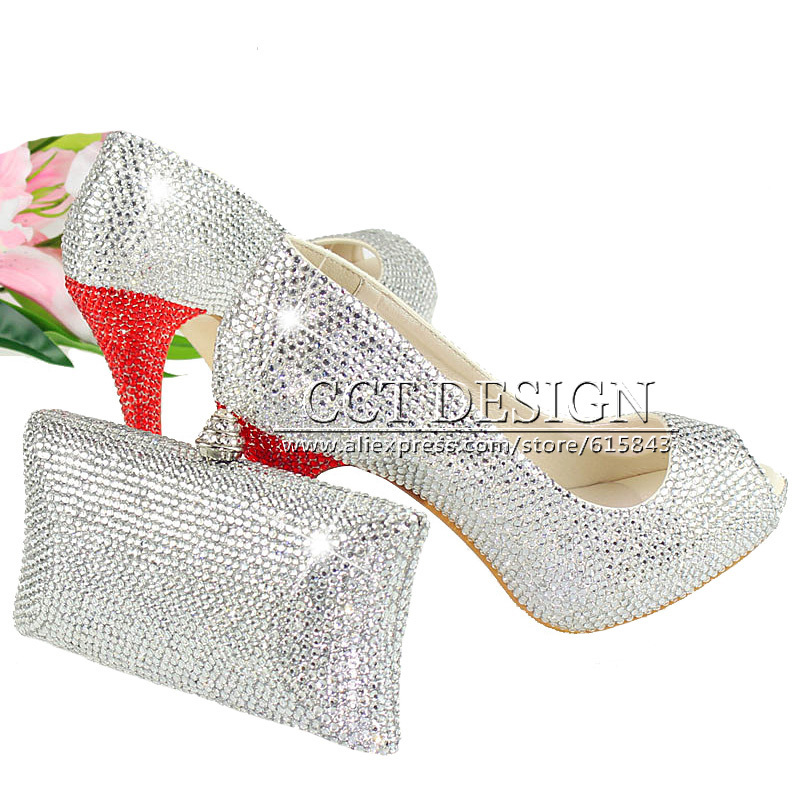 Something White Wedding Shoes Customized Sparkly Peep Toe High Heels Platfrom Party Evening Shoes Italian Shoes And Bag Set something red wedding shoes customized sparkly diamond red high heels platfrom party evening shoes italian shoes and bag set