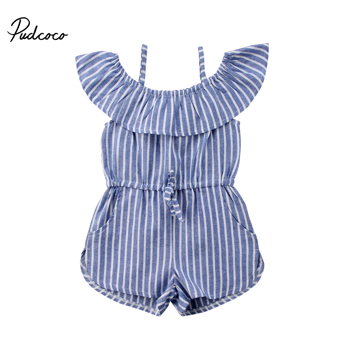 2018 Brand New Toddler Infant Child Kid Baby Girl Stripe Off Shoulder   Romper   Jumpsuit Pocket Clothes Ruffled Sunsuit Outfit 1-6Y