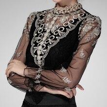 Women blouses shirt female long sleeved lace collar blouse 2017 new autumn Plus Size White Bluck Blouses tops blusas 33C