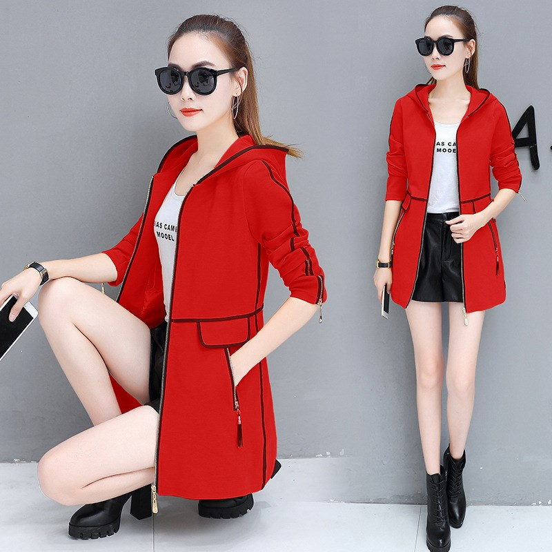 New Autumn Women Long   Trench   Coats Plus Size Loose Patchwork Windbreaker Pocket Work Hooded Casual Outwear