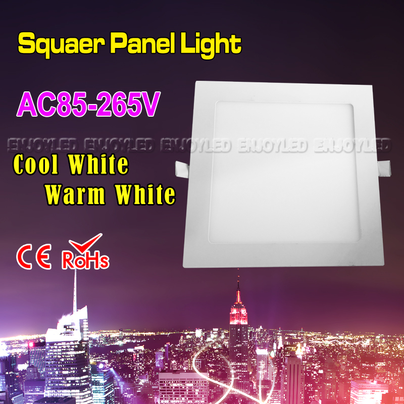 AC85-265V Ultra thin Design Square Flat Panel Light 3W 4W 6W 9W 12W 15W 18W LED Ceiling Recessed Grid Down light Cold Warm White 1pcs ultra slim embeded 12w round led panel light smd3014 ac85 265v led indoor ceiling lamp white warm white with led driver
