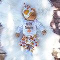 2016 Moda Dos Desenhos Animados Crianças Conjuntos de Roupas meninos 100% do bebê do algodão do bebê roupas de menina 3 pcs infantil Macacão de manga longa + calça + chapéu