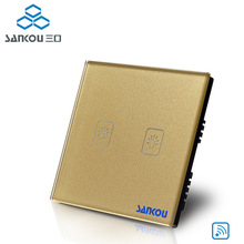 цена на SANKOU remote control switch 220v UK touch light switches 2gang touch wall switch