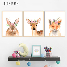 Nordic Style Watercolor Cute Animal Poster and Print Nursery Art Wall Picture Rabbit Deer Childrens Room Decoration Painting