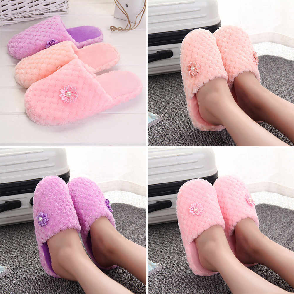 7a32c714dc1e5 ... Women Warm Shoes Solid Slipper Indoors Anti-slip Winter House Shoes Flip  FlopsWinter slipper Home ...