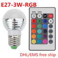 3W E27 RGB LED Bulb 16 Color Change Lamp bulb 110-265v rgb controller for Home Party decoration with IR Remote DHL Free ship