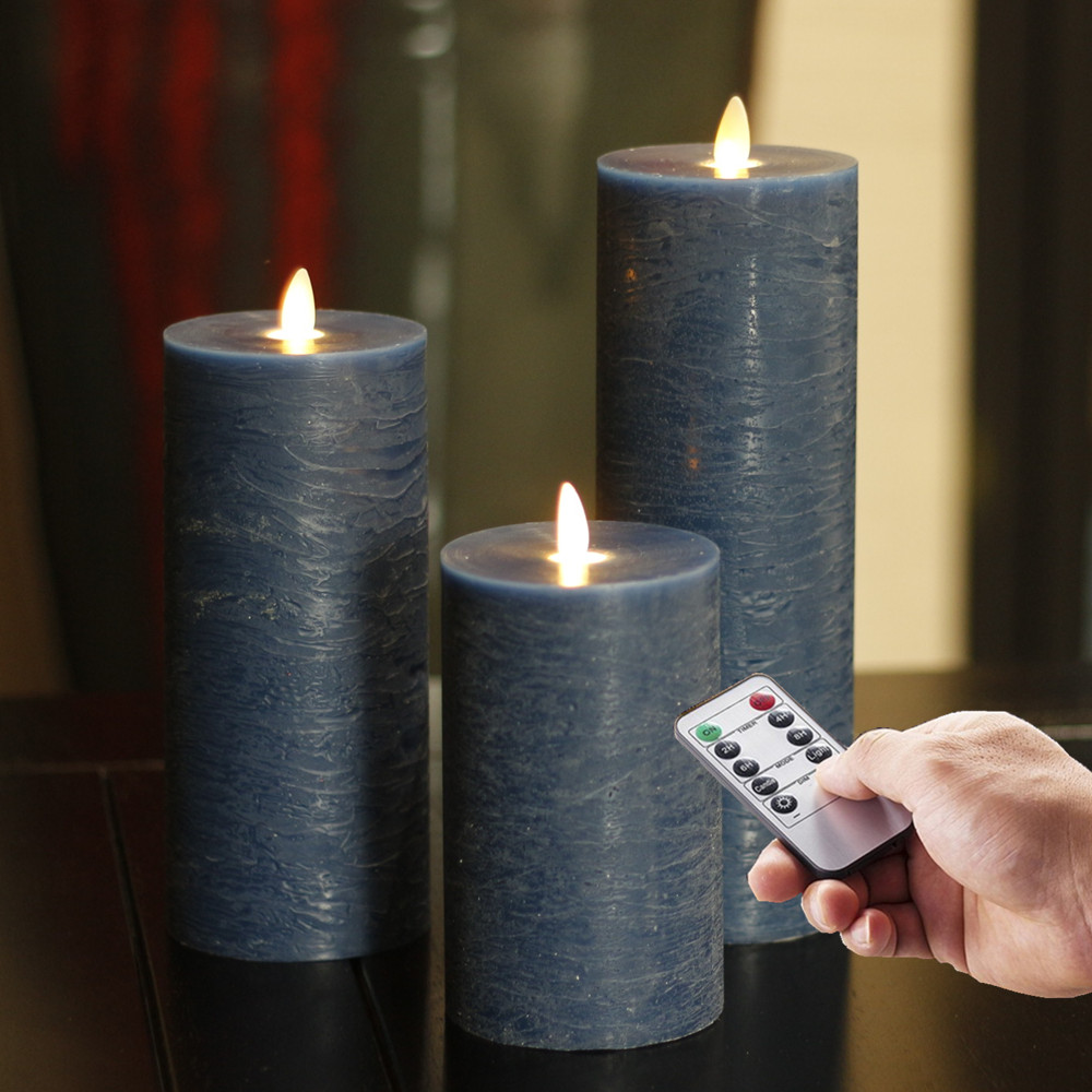 Flameless LED Pillar Candles Moving Wick Battery Operated Flickering Water pattern set of 3 Blue For Home Decoration
