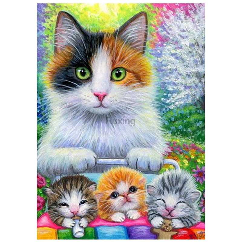 Алмазная картина со стразами, вышивка крестиком, квадратная Алмазная вышивка, мультяшная женская кошка и три котёнка, мозаика, украшение дома