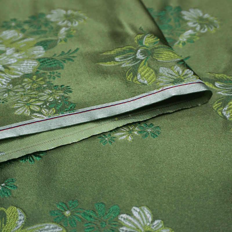 75 centimetri x 100 centimetri di trasporto Metallico Jacquard Brocade Fabric, motivo floreale verde 3D jacquard tinto in filo tessuto per le Donne Cappotto del Pannello Esterno Del Vestito