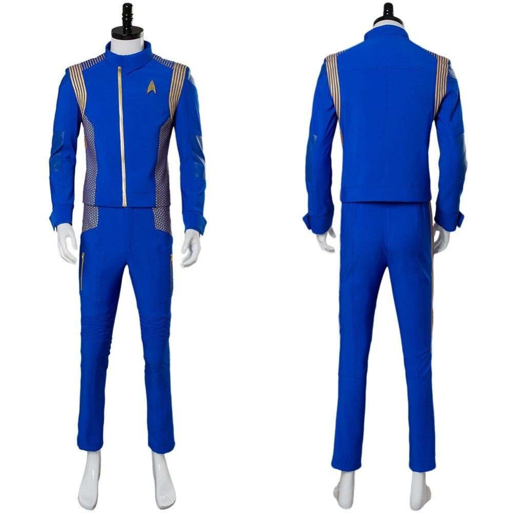Star Trek Costume Discovery Captain Lorca Cosplay Costume Blue Adult Men Captain Lorca Cosplay Costume Command Uniform Suit