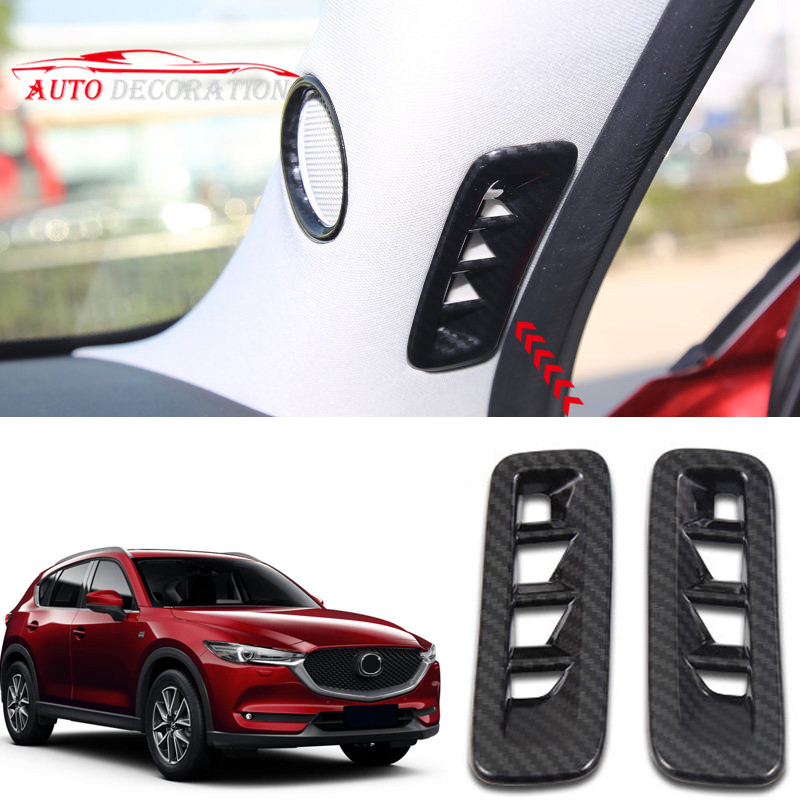 Auto styling Innen Zubehör ABS Carbon Farbe Front Air Vent Outlet Abdeckung <font><b>2</b></font> * Für <font><b>Mazda</b></font> CX-5 CX5 2nd Gen 2017 <font><b>2018</b></font> 2019 image