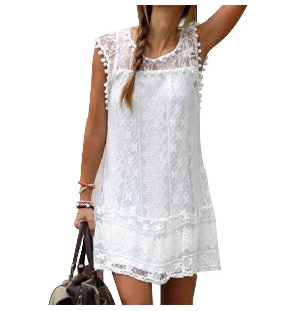 Women's New Summer Fashion Dress Sexy Casual Sleeveless Beach Short Dress Tassel Solid Mini Lace Hollow Out Dress(White/Black)