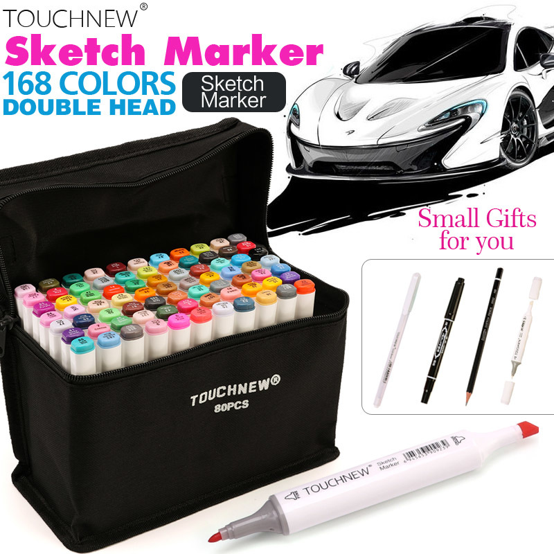 TOUCHNEW 30/40/60/80 Colors Artist Dual Head Sketch Copic Markers Set for Manga Marker School Drawing Marker Pen Design Supplies bianyo 30 40 60 80 colors set artist dual head oil sketch copic markers set for school drawing sketch marker pen design supplies