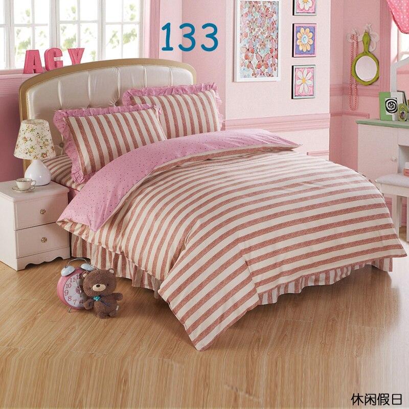 Beige Yellow Twin Full Queen King Cotton Bed Skirt Set 3 4pcs