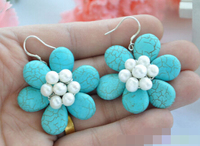 Hot selling> 1532 blue turquoise bead white pearl flower dangle earring Bride jewelry free shipping