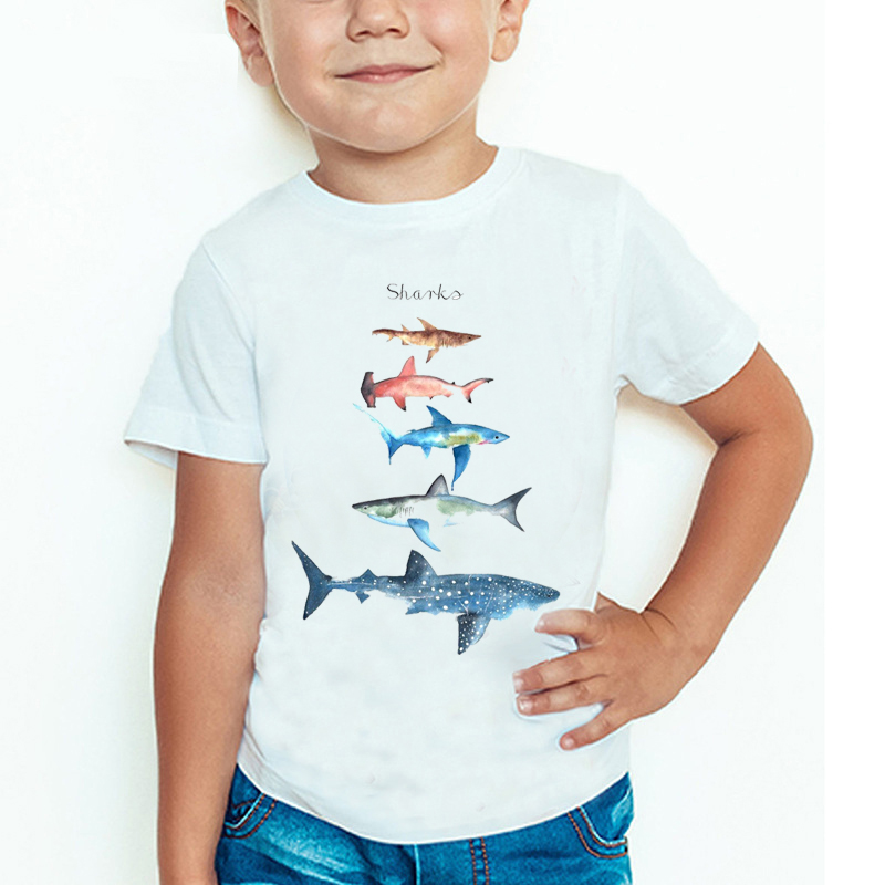 Summer Fashion Shark Print T-shirt Children's Harajuku Whale Design Short-sleeved  Baby Girl Boy Summer Round Neck Cotton Tshirt