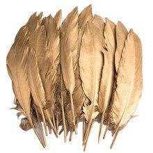 Блестящий золотистый Серебристый окунутый гусиное перо утиный фазан перья для рукоделия перья для изготовления ювелирных изделий