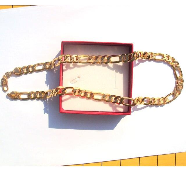 18 k sólido goldgf acabamento autêntico 18 k carimbado 10mm fino figaro corrente colar masculino feito em melhor 600mm 2