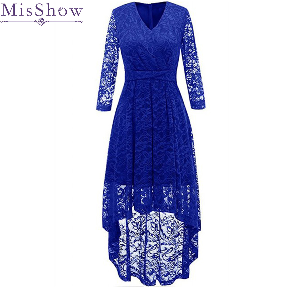 Evening     Dresses   Gorgeous Formal V Neck Lace Long Back Short Front Sexy Royal Blue Women Party 2019 Special Occasion Party   Dress