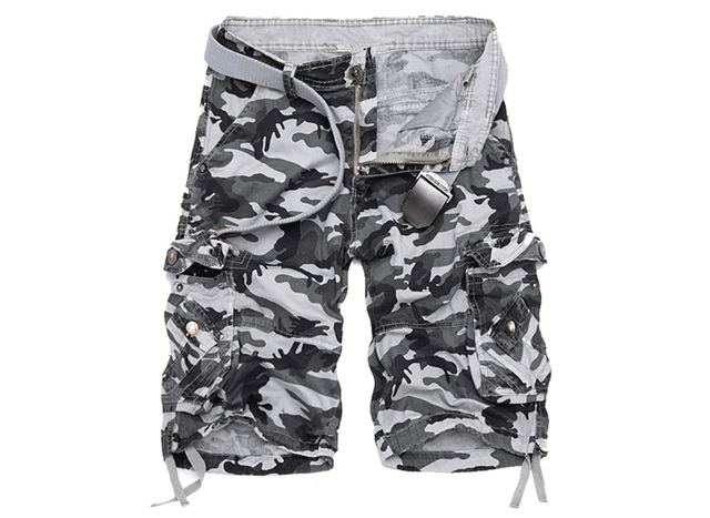 New Camouflage Loose Cargo Shorts Men Cool Summer Military Camo Short Pants 2