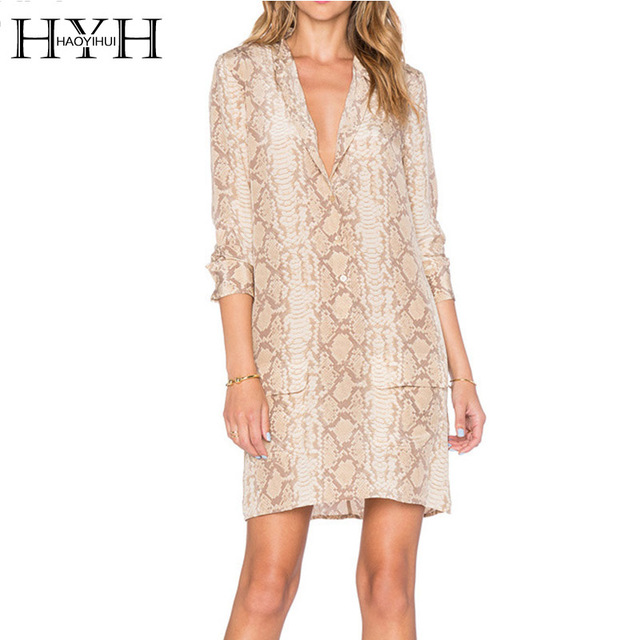 HYH HAOYIHUI 2017 Brand New Summer Autumn Fashion Women Dress Loose Single-Breasted Sexy Snake Print Plunge Neck Mini Dress