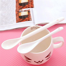 Long Handled Ceramic Soup Spoon Rice Cutlery Dessert Ladle Scoop Kitchen Table Tools 5pcs Cubiertos