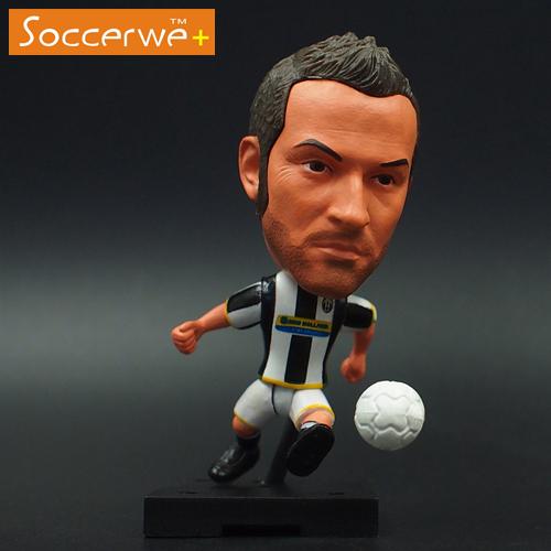 6.5*3.5 cm Soccer Star Doll JUV 10 del piero Black White Home