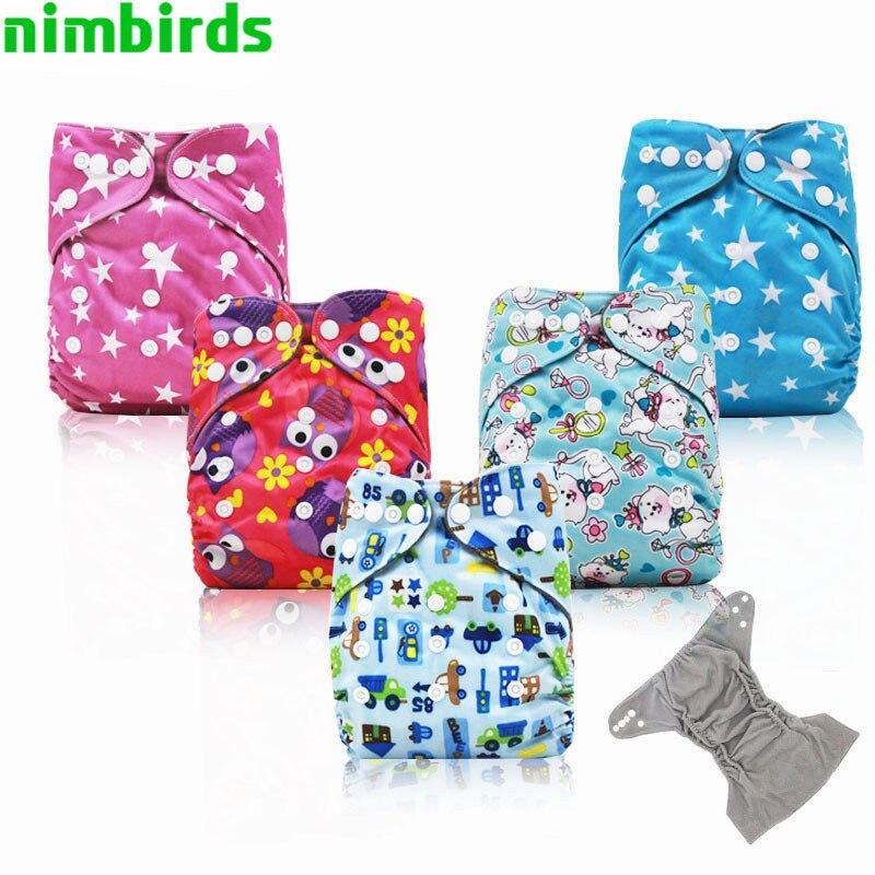 Регулируемые детские подгузники из бамбукового угля, карманные тканевые подгузники, двойные вставки, тканевые подгузники для мальчиков и д...