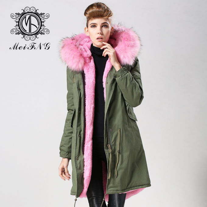 2015 newest pink fur coat with big fur hooded trim and detachable ...