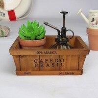 Desktop European Wooden Potted Plants Storage Box Flowerpot Planters Flower Pot Container Boxes Garden Home Desktop