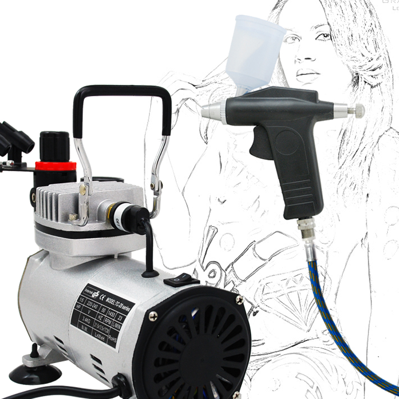 ФОТО Economy Airbrush Set ABK-115 Air Compressor Kit Commercial Arts Body Painting Temporary Tattoos