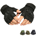 Tactical Army Military Outdoor SportsGym patchwork Paintball Airsoft Combat Half Finger Carbon Hard Knuckle Durable Black Gloves