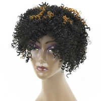 Soowee Kinky Curly Short Synthetic Hair Wig for Black Women Party Hairstyle Cosplay Wigs Hair Accessories Headwear