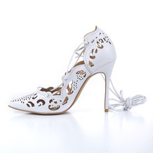 Top quality Women Impera Laser-cut Pumps 12CM High Heels Gold Pumps Lace-up Cut-outs Pointed Toe Women Wedding Shoes
