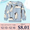 2016 Winter Baby Boys Girls Tops & Tees Rabbit Print Sweatshirt Kids Bunny Animals Autumn T-shirt Enfanty Children T Shirts