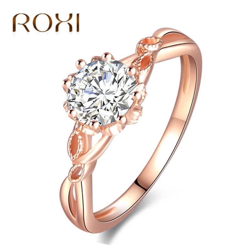 6d9621767c39 ROXI Новый AAA циркон обручальные кольца для женщин розовое золото цвет женские  обручальные кольца Анель Австрийские