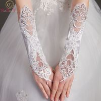 Walk Beside You 2017 White Ivory Wedding Gloves Elbow Lace Applique Beaded Wedding Accessories Bride Gloves