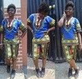 2016 лето 2 шт. набор женщин Традиционные Африканские Dashiki установить синий с коротким рукавом длиной до колен брюки боди из двух частей набор