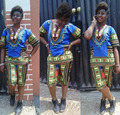 2016 summer 2 piece set women Traditional African Dashiki set blue short sleeve tops knee length pants bodysuit two piece set