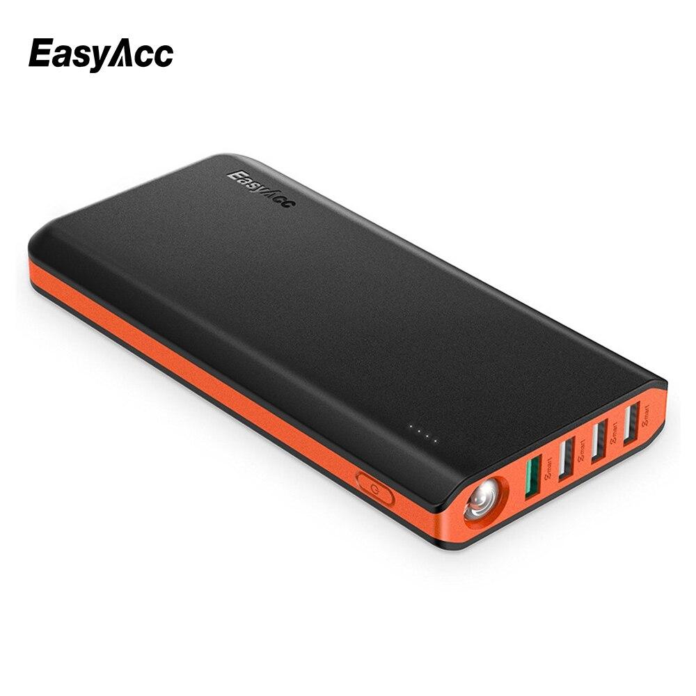 imágenes para Easyacc 20000 mah banco de potencia compacto 18650 más rápido de recarga de carga 3.0 cargador portátil para xiaomi huawei moblie tableta del teléfono