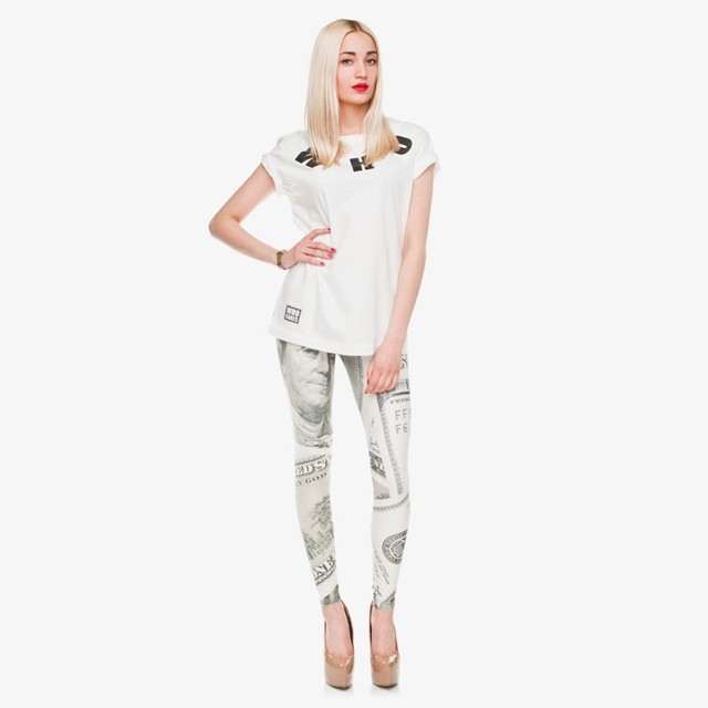 New Fashion Leggings Digital 3D dollar cash money Franklin Print Polyester Women Funny Leggings For Fashion Dress