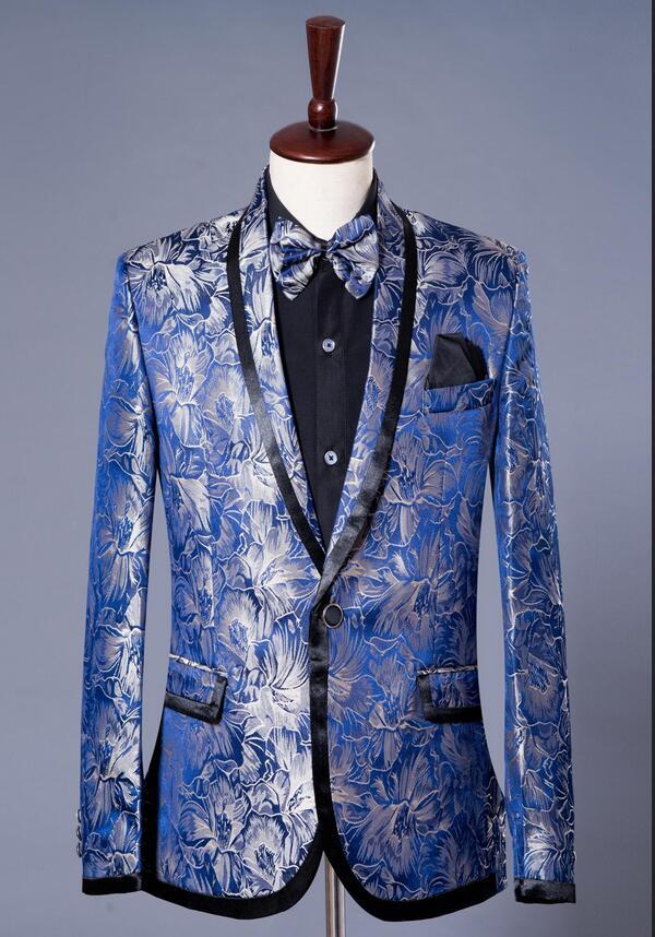 Blue star formal dress marriage suits blazer slim mens blazers set groom married costume banquet man jacket + trousers + tie