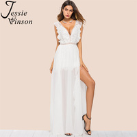 Jessie Vinson Deep V neck Sleeveless White Plus Size Party Long Dress Elegant Maxi Dresses Evening for Women 2018 Ball Gown